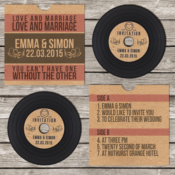 Record Wedding Invitations: Be Our Guest DesignsBe Our Guest Designs